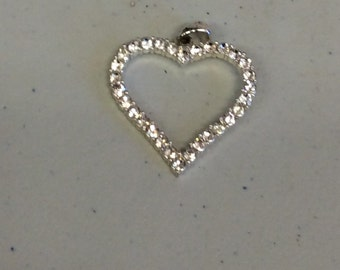 Heart Shaped Pendant with Rhinestones