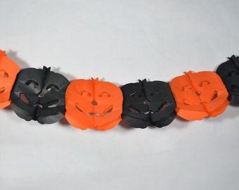 Black and Orange Pumpkin Halloween Garland Banner (9FT) - 10PAGD-PUM