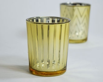 6 PACK Stripe Votive Tealight Candle Holder - Gold (2.5 INCHES)item TLSTP-GD6