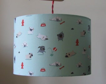Handmade 30cm drum lampshade - Pugs.  FREE shipping to mainland UK