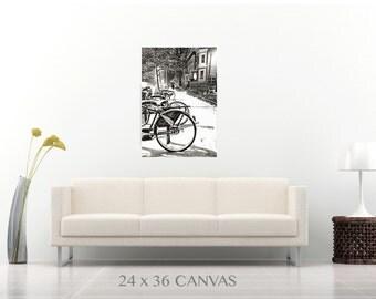 Winter City Bikes, Canvas Print, Paper Print, Washington DC Photography, Washington DC Art, Black and White, Home Decor, Office Decor