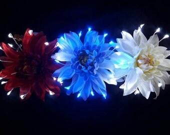 Red, White and Blue Firework LED flower clip 3 pack