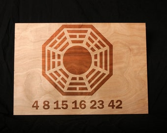 LOST 4 8 15 16 23 42 Dharma Initiave Custom Engraved Wall Decor, Wedding Gift, Home Decor, Anniversary Gift, Bridal Gift, Office Decoration