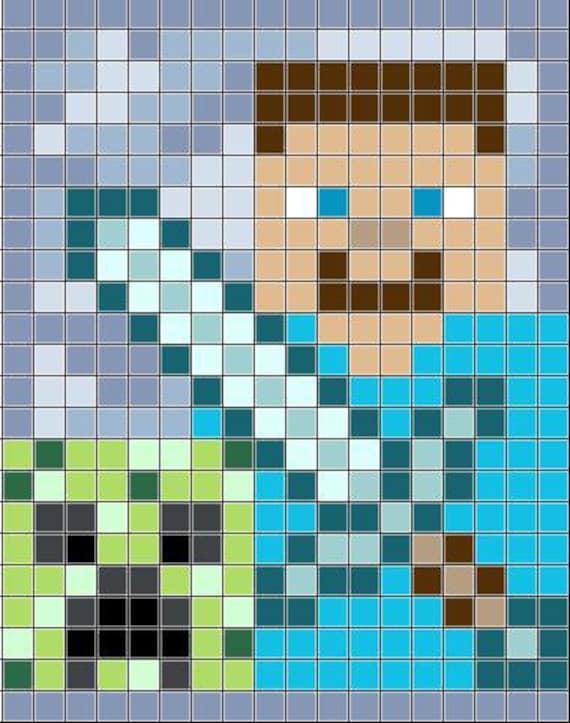 Minecraft Crochet Afghan Pattern Free : Minecraft Crochet Blanket Steve and a by AllUrYarnRBelong2Us
