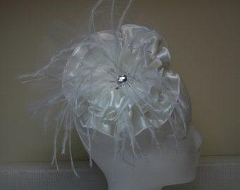 White Satin Bridal Headpiece/Fasinator