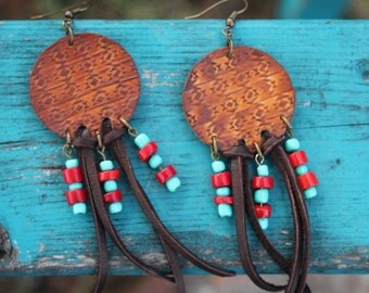 Leather Fringe Red Coral Earrings, Western, Southwestern, Gypsy, Boho Jewelry, Handmade Leather Earrings