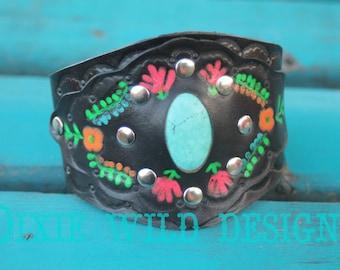 Cuff Bracelet, Womens Cuff Bracelet, Leather Cuff, Western, Boho Leather Cuff, Mexican Embroidery Cuff, Women's to Plus Size Adjustable Cuff