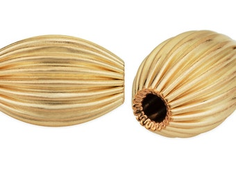 2 Pcs  3X5 mm 14K Gold Filled Corrugated Oval Beads (GF530201)