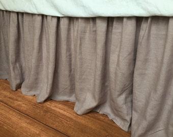 natural linen bedskirt in orchid medium weight linen fabric bed ruffles linen dust - Dust Ruffles