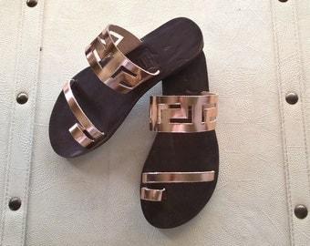 Greek leather sandals,meander sandals,ancient,leather sandals,womens shoes,greek sandals,handmade sandals,gifts,sandals,womens sandals