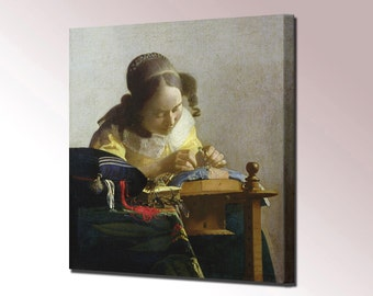 Lacemaker Vermeer Canvas Wall Art Print Picture Framed Ready To Hang Decor