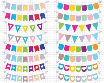 """Bunting Clipart: """"BUNTING BANNER Clipart"""" Banner Flag Clipart, Banner Clipart, Party Bunting, Party Banners, Holiday Bunting"""