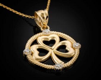 Gold Irish Shamrock Clover Diamond Pendant Necklace (10k, 14k, yellow, white, rose gold)