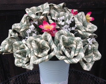 Money Roses, Mothers Day, Wedding, Origami, Money Rose, Bouquet, Unique Gift, Anniversary, Graduation, 100 Dollar Gift, Money Flowers