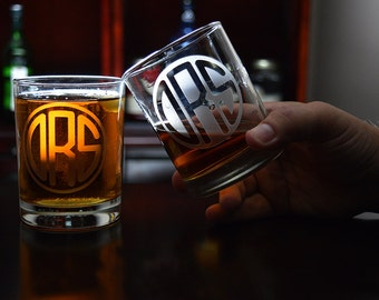 Circle Monogram Whiskey Glass, Scotch Glass