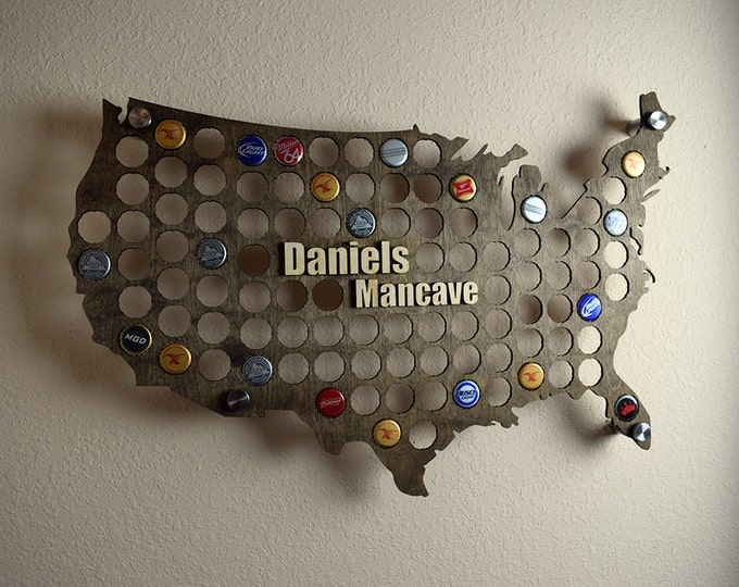 USA Beer Cap Map Display Holder with 3D Personalized Standout Name