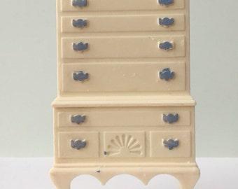 Ideal ivory Blue Highboy Bedroom Dresser-Vintage Dollhouse Furniture 1:16