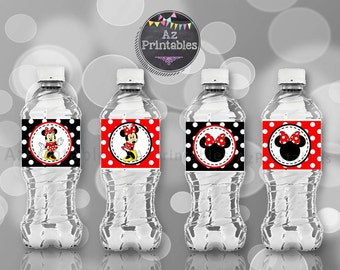 Printable red Minnie Mouse, water bottle label, instant download, birthday party, party printable, diy, Minnie mouse, digital
