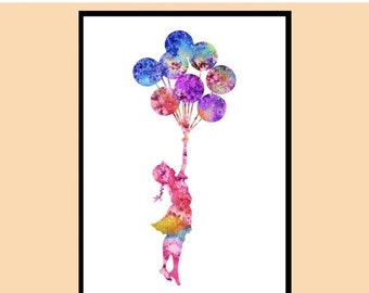 ON SALE 50% OFF Banksy Balloon Girl, Banksy Girl with a Ballon, Watercolor print, Kids Room Decor, Poster, print,Instant Download