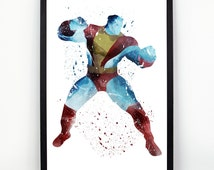 Colossus print, Marvel fan art, Watercolor alternative poster, Watercolor Art, Nursery Print, Nursery Wall Art,