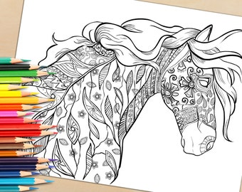 adult coloring page from coloring book for adults horse equine art colouring page for download