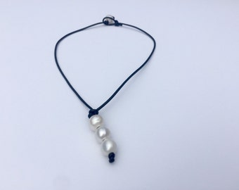 Three Freshwater Pearl Drop Necklace