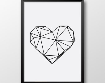 Geometric Heart Print, Scandinavian art, printable poster, Heart Print, Black and white home decor 172