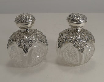 Magnificent Pair Large Antique Sterling Silver Mounted Perfume Bottles