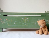 Vintage Wooden Doll Bed Original Hand Painted Hindelooper Style, Dutch, Child Toy