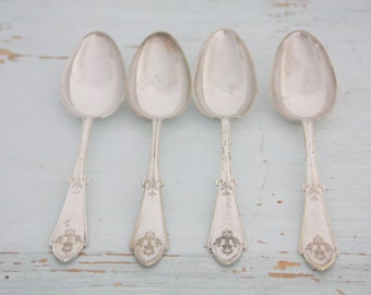Four Antique Silver Plated Flatware Spoons