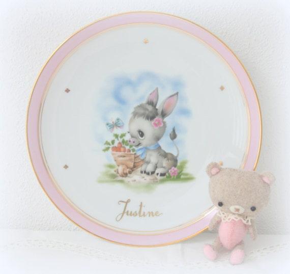 Vintage Limoges Porcelain Children's Plate, Cute Donkey Decor, Girl's Plate with Name 'Justine', France