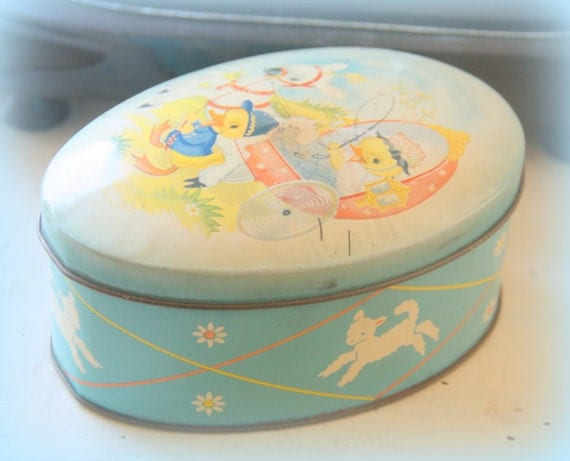 Darling Vintage Cote D'or Easter Tin, Egg-Shaped Chocolate Box, Little Chicks and Lamb Decor