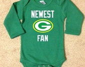 Green Bay Packers Football Onesie, Baby Packers, Newest Fan Onesie, Kids Packers shirt, LONG Sleeve, Choose White or Green