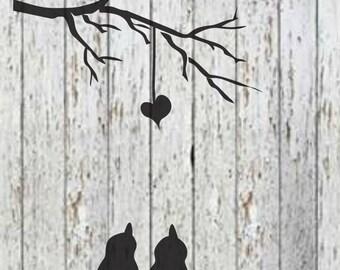 Love Birds on Wire Stencil