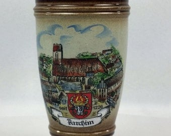 Small German Stoneware Cup Hand Made and Painted King Parchim Souvenir