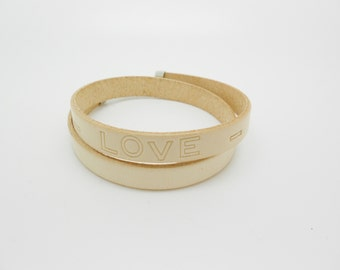 """Bracelet 2 towers leather message """"love"""""""