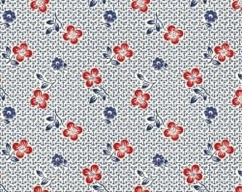 Feedsack Florals - Red Flowers on Blue - Reproduction 1930s - by the Half Yard