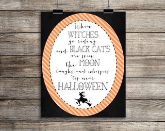 Halloween Witch Poem Print, Halloween Wall Decor, Printable Halloween Decor, Cute Halloween Decor, Halloween Poster, Stripes