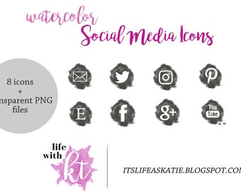 Watercolor Social Media Icons, Top Selling Items, Blog Buttons, Grey and White, instant download, social media buttons