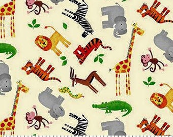 safari jungle animals elephant crocodile lion boys fabric fat quarter