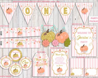 Pumpkin Pink and Gold Party Package, Pumpkin Party Pack, Party Supplies,Pink and Gold Birthday Party, Pumpkin Printable PERSONALIZED