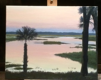 """Sunrise over the May River - 8"""" x 10"""" Giclee print of original oil painting"""