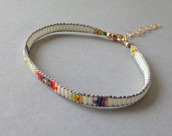 Neon tribal bracelet, Bohemian bracelet, Summer bracelet, Layering bracelet, Boho chic, Boho bracelet, Beaded ethnic bracelet