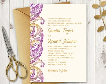 Indian invitations etsy printable wedding invitation paisley purple and gold wedding invites template with traditional stopboris Choice Image