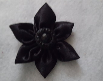 Black Fabric Flower Clip