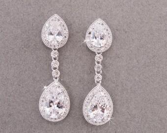 Statement Earrings, Chandelier Earrings, Crystal Earrings, CZ Earrings, Bridal Earrings, Wedding Earrings, Crystal Drop Earring Prom Earring