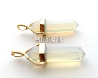 Opal bullet point pendant, gold finding, #GPEN-011