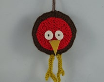 robin bird soft toy key ring hand knitted crochet handmade toys cute cuddly gift baby shower stuffed animal baby safe for kids Waldorf wool