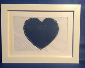 Framed sailcloth heart