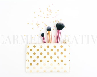 Beauty Brushes Styled Stock Photography, Confetti Stock Photography, Feminine Stock Photography